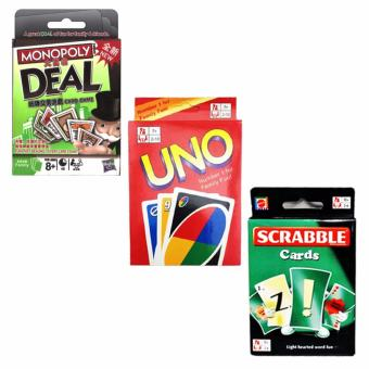 UNO Monopoly Deal Scrabble Fun Cards Game for Family Bundle - 2