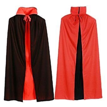 Vampire Dracula Cloak Cape for Men Male Halloween Fancy DressCostume 140cm Long Black Red Reversable - intl