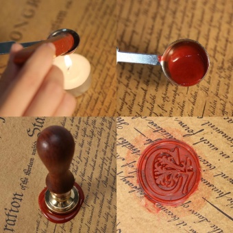 Vintage Alphabet Sealing Wax Stamp Set with Wood Handle + Spoon+Candle(S) - intl - 5