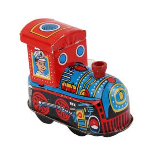 Wind Up Train Locomotive Model Clockwork Kids Play Metal Toys Collectible
