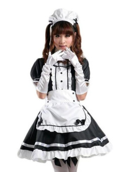 Women Halloween Costume Maid Dress Cosplay Clothing XXL--Black - intl