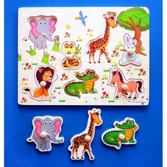 Wooden Inset Board Animals Puzzle - Educational and Therapeutic Toy