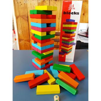Wooden Jenga Colored Building Blocks - Educational and Therapeutic Toy - 5