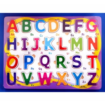 Wooden Pegged Puzzle Board - Upper Case Alphabet Letters