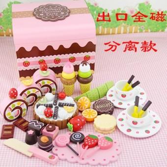 Wooden Strawberry Model Birthday Cake Toys