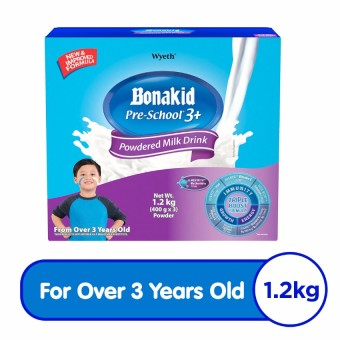 Wyeth(R) BONAKID PRE-SCHOOL(R) 3+ Stage 4 Powdered Milk Drink for Children Over 3 Years Old, Sachet in Box, 1.2kg (400g x 3)