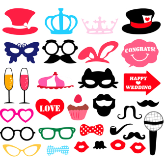 YBC 31pcs Party Supplies Wedding Photo Booth Props Masks Mustache