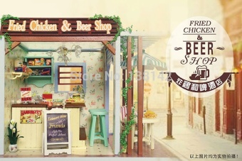 Z006 fried chicken and beer miniature dollhouse miniature diy doll house wooden store The best Christmas gift - intl