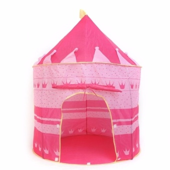 Zover Castle Play Tent Portable Folding Girl's Pop Up Playhouse Castle Fairy Tale Cubby Child Kids House Pink for Indoor Outdoor Home Room Decor Holiday Gift