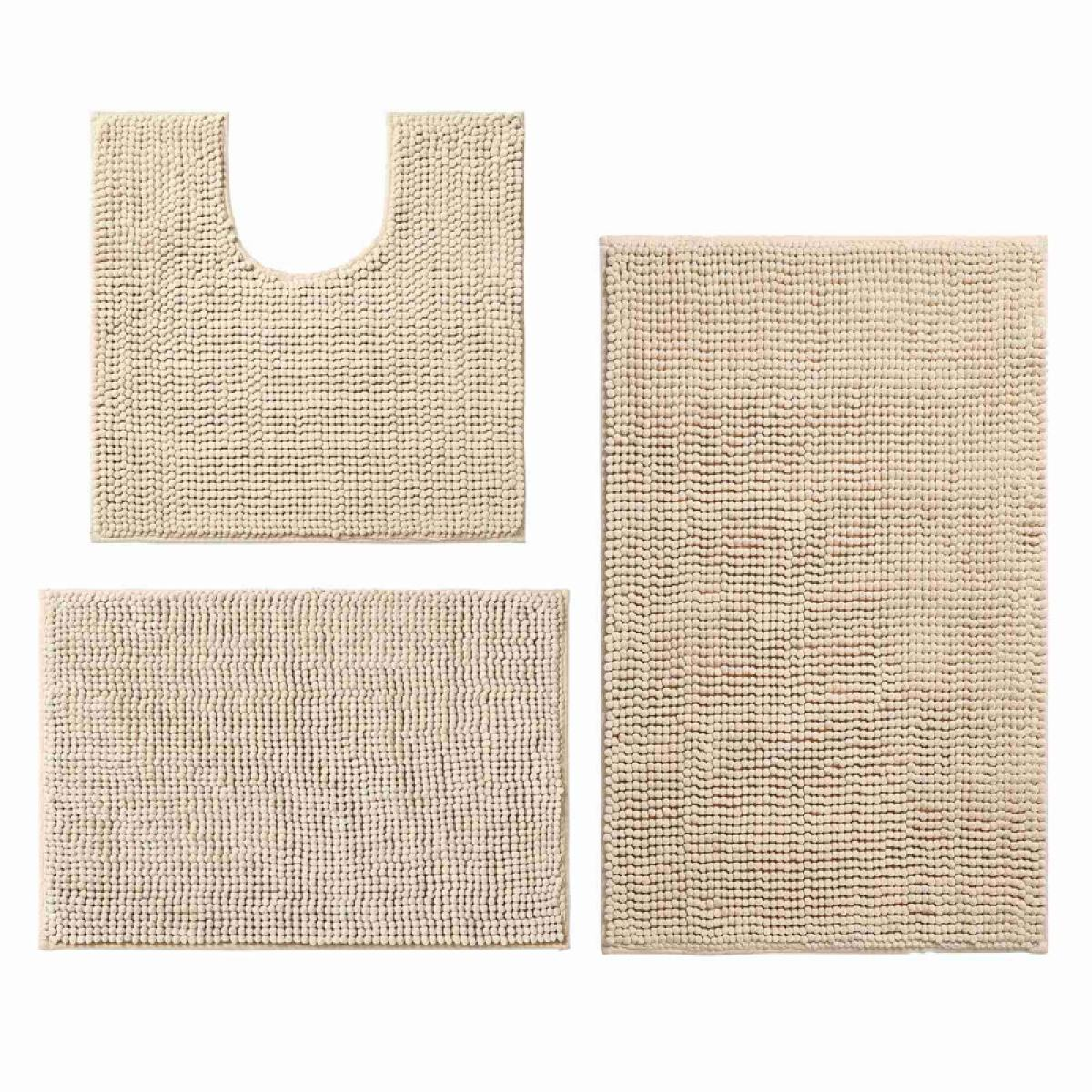 3 Pieces Bathroom Rugs Anti Slip Chenille Bath Rug Super Absorbent Luxury Shaggy Bath Mats Set Machine Washable Lazada