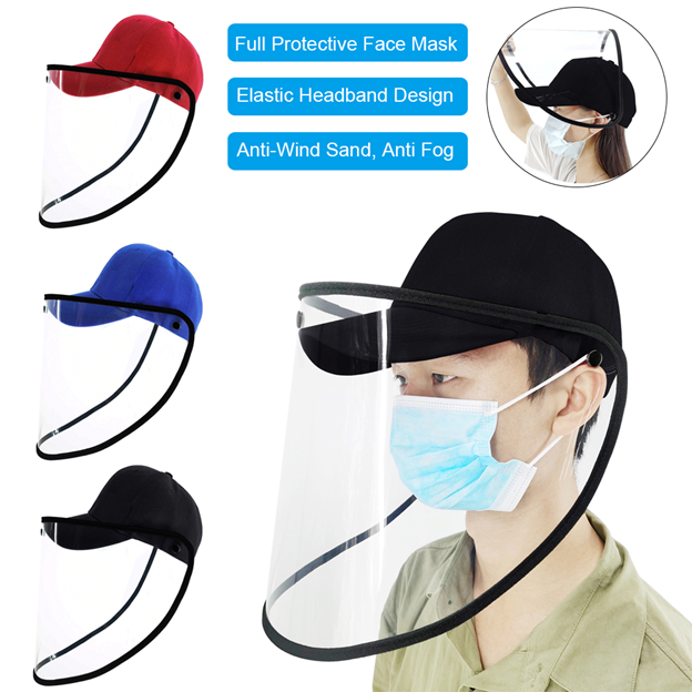 Blue Anti Saliva Splash Fog UV Baseball Cap with Removable for Travel Outdoor Activities Face Isolation Anti-Pollution Hat Safety Face Shield Protection Hat