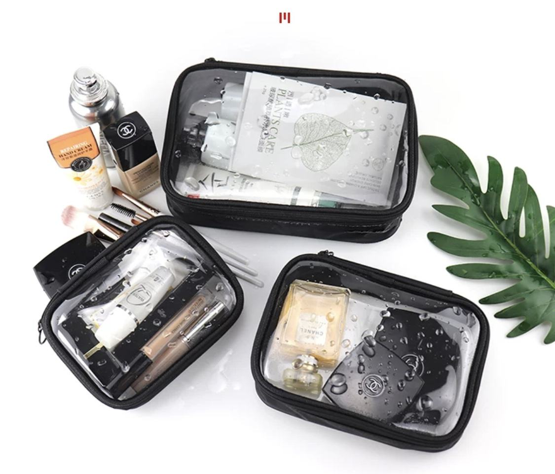 Vc Clear Black Travel Toiletry Bag Waterproof Transparent Pouch Cosmetic Makeup Organizer Case Small Medium And Large Lazada Ph