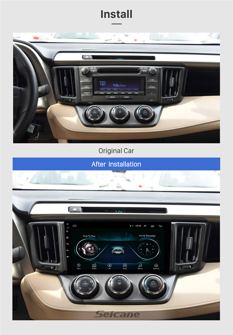 9 inch Android 8.1GPS Navi Stereo for 2013-2018 Toyota RAV4 left hand drivier with WIFI USB AUX support Rearview camera OBD II