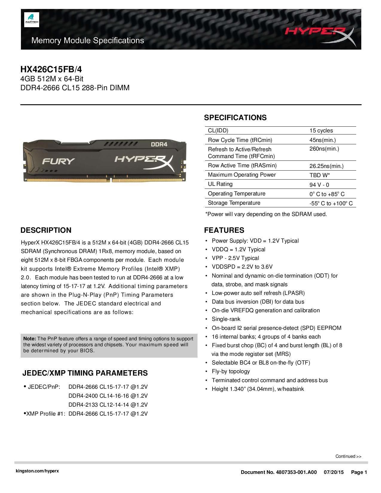Kingston HyperX Fury 4GB 2666Mhz DDR4 Non-ECC CL15 DIMM Desktop Memory Ram  (Black)