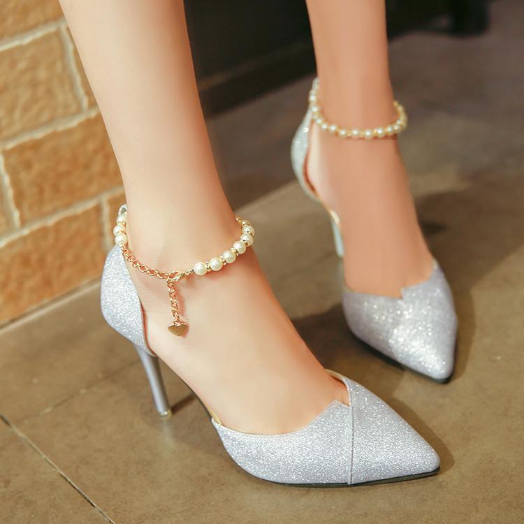 48600fe45 2018 Autumn New Style Korean Style Versatile High Heel Shoes Beaded ...