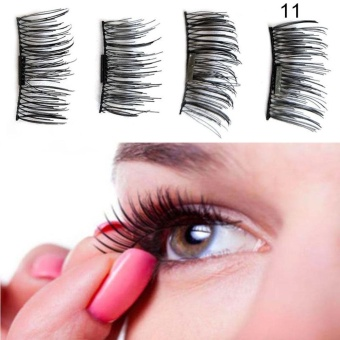 1 Pair/ 4Pcs 3D Magnetic False Eyelashes Natural Makeup Beauty Accessories - intl