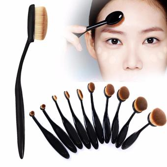 10 Pieces Professional Oval Make-Up Brush Set (Black)