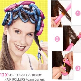 12Pcs/Bag Magic Curly Hair Stick Pearl Cotton Beauty Hair Tool Bendy Twist Women - intl - 3