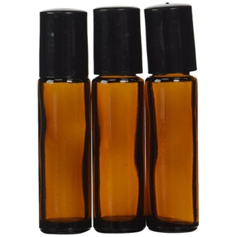 18pcs Amber 10ml Glass Roll-on Bottles with Stainless Steel RollerBalls & 5 ml Dropper included - intl