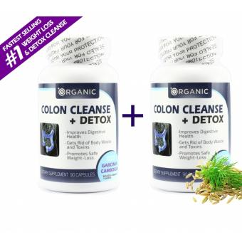 1Organic Colon Cleanse + Detox, Eliminate Toxins, Boost Energy andStamina, All Natural, Non-Irritant, Digestive Health, Lose Weight,2 BOTTLES COMBO - 180 Capsules
