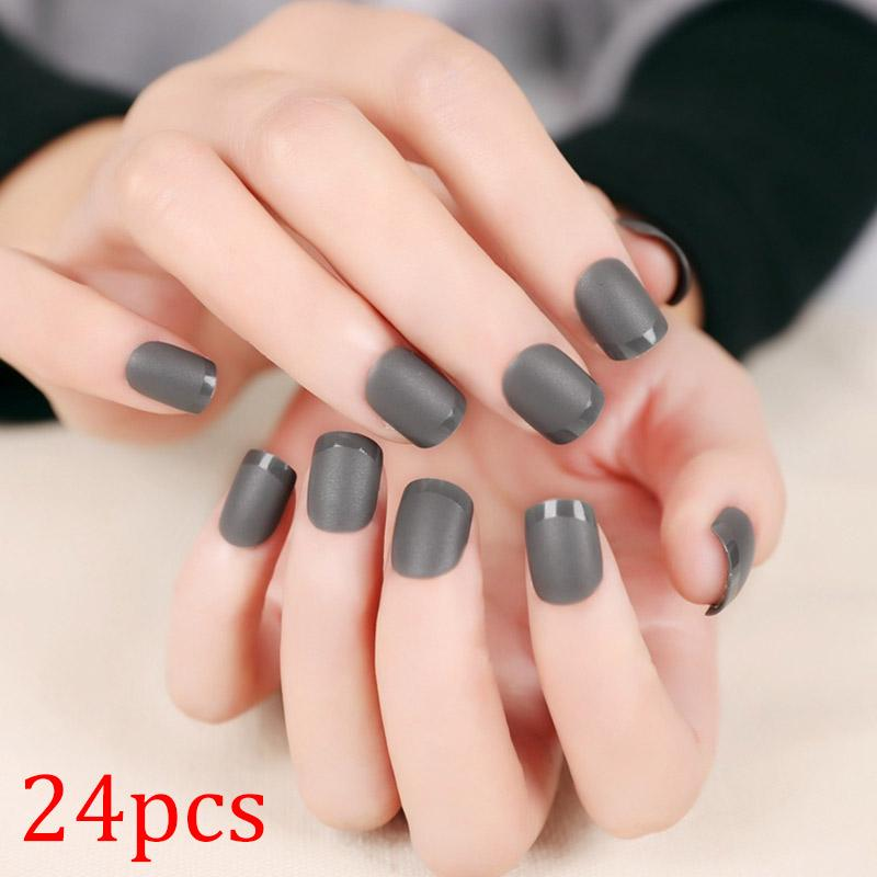 24pcs Grey Fake Nails Acrylic Full Nails Tips for Lady DIY Beauty ...