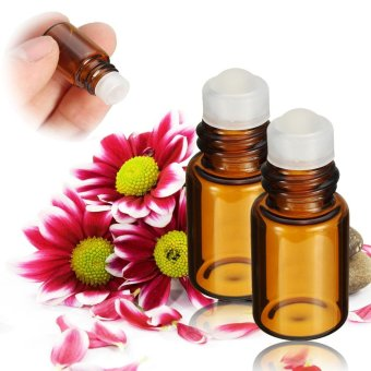 2ml Amber Glass Bottle Container Roll On Ball Roller Essential Perfume - intl