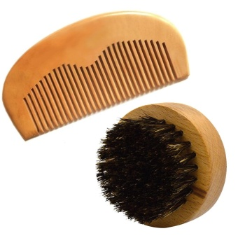 2Pcs Beard Brush Comb Set Men Soft Boar Bristle Round Wooden ShortHandle Facial Mustache Beard Brush Pocket Mustache Hair Beard Comb- intl