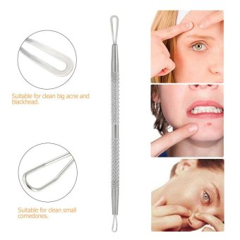 2pcs Blackhead Tool Curved Acne Clip Facial Pimple Tweezer Comedone Cleaner Stainless Steel Blemish Extractor Remover Set - intl - 5