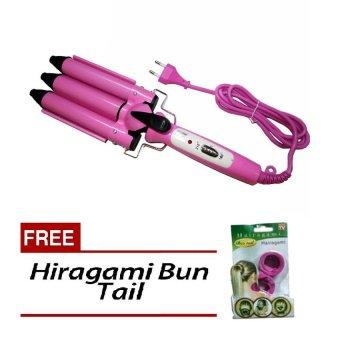 3-Barrel Hair Styler Curler (Pink) Free Hiragami Bun Tail