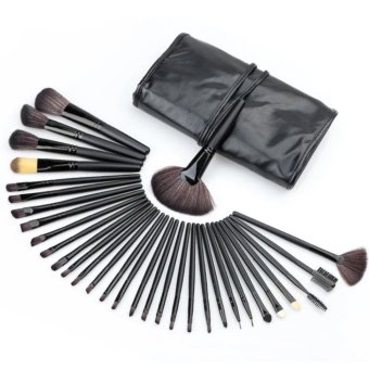 32Pcs Makeup Brushes Professional Soft Cosmetics Make Up Brush Setkabuki Tools (Black)