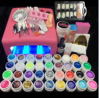 36 W UV Lamp and 36 Colors UV Gel Nail Art Nail Tools Set NailPolish Nail Gel Building Kit set a tool hedge - intl