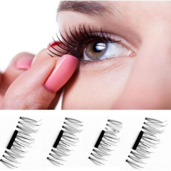 4 Pcs / Pair 3D Magnetic False Eyelashes Natural Handmade To Long False Eyelashes Thick Cross Eyelashes Eyelash Extension Kit - intl