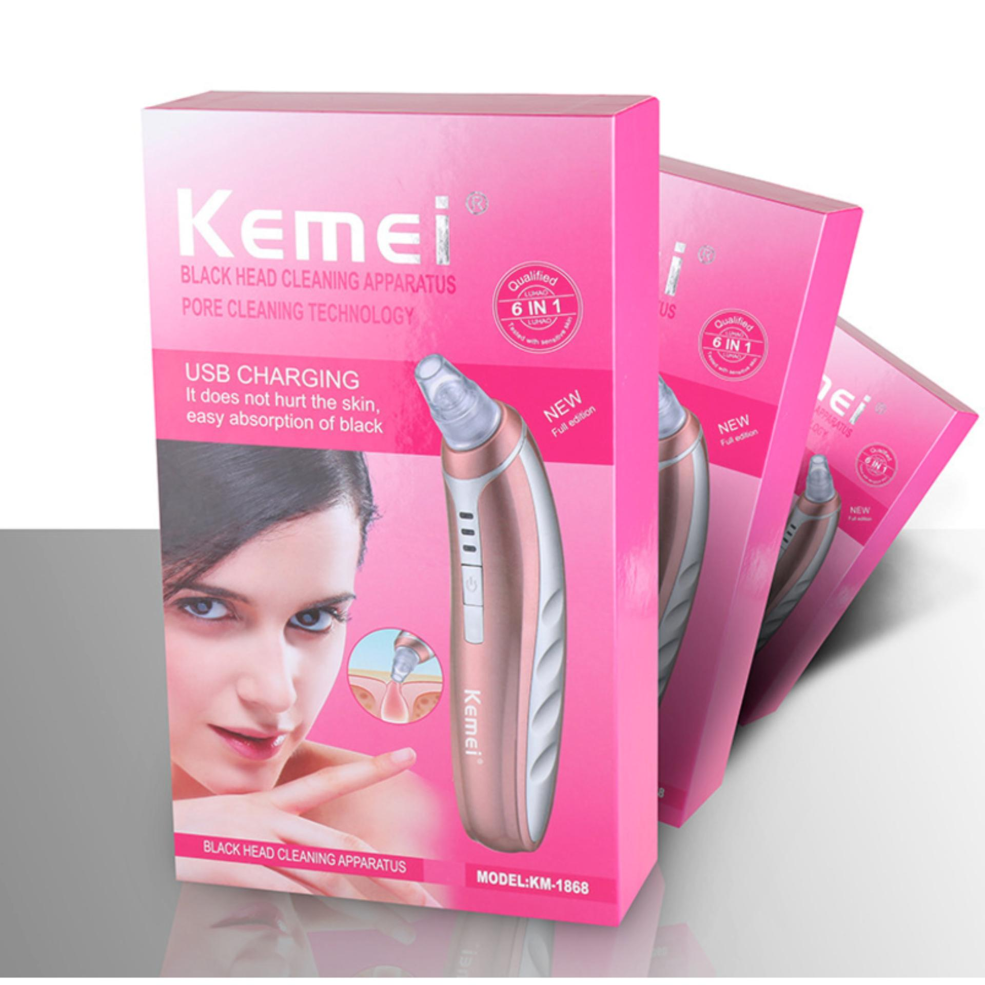 Philippines 6 In 1 Kemei Km 1868 Usb Charging Electric Portable Facial Pore Cleaner Removalblackhead Suction