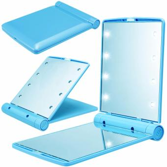 8 LED Vanity Mirror Compact Portable Cosmetic Mini Makeup Mirror(Sky Blue)