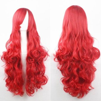 80cm Fashion Long Wig Hair Curled High Temperature Silk MulticolorCurl White - intl - 4