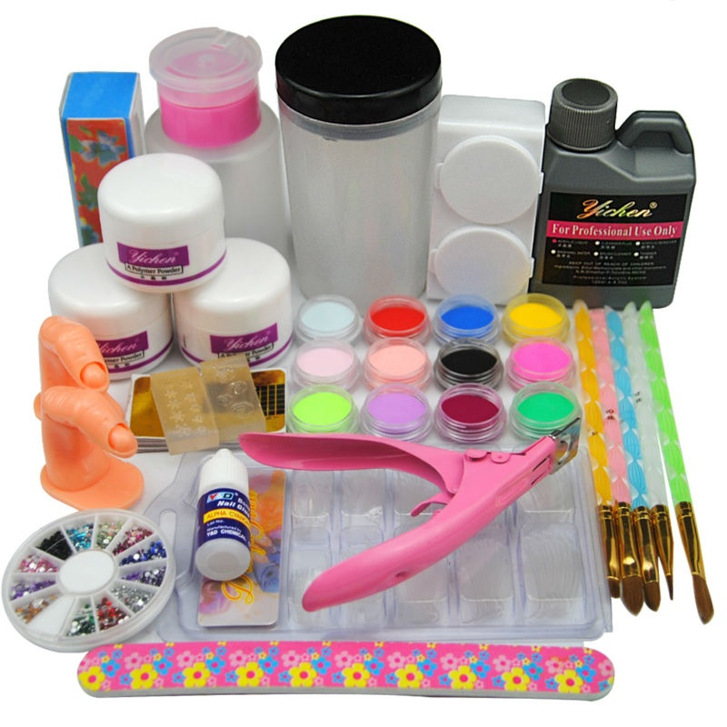 Acrylic Nail Manicure Kit Acrylic Powder With Liquid12pcs Colored
