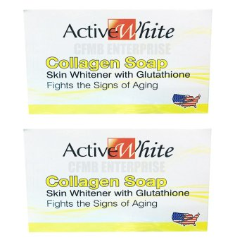Active White Collagen Soap Skin Whitening with Glutathione 135g,Set of 2