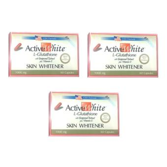 Active White L-Glutathione Skin Whitener 60 Capsules 1000mg Set of 3