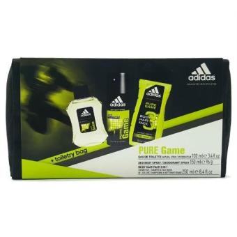 Adidas Pure Game Set (Eau de Toilette 100ml + Deo Spray 150ml + Shower Gel 250ml + Toiletry Bag)