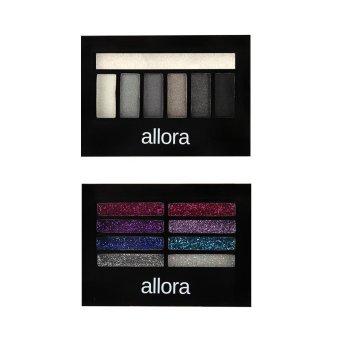 Allora Glitter Creme Eyeshadow Palette 2g (Colour Burst) with Allora Eyeshadow with Highlighter 3g (Grey Mist) Bundle