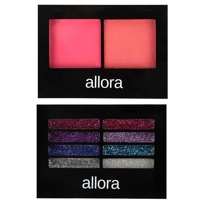 Allora Glitter Creme Eyeshadow Palette 2g (Colour Burst) withAllora Blush Duo 3g (Peach Whip) Bundle
