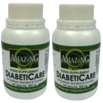 Amazing Food Supplement DiabetiCare 500mg 100% Pure Leaf Powder500mg Capsule Bottle of 100 Set of 2