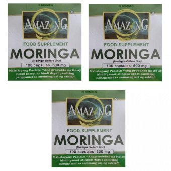 Amazing Food Supplement Moringa 500mg Capsules, Box of 100 Set of 3