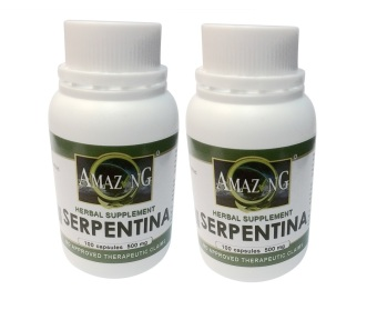 Amazing Food Supplement Serpentina 500mg Capsules Bottle of 100 Setof 2