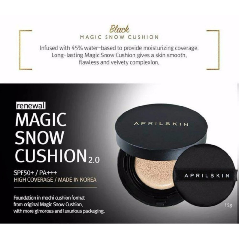 April Skin Magic Snow Cushion BLACK 2.0 SPF50 (No.21)