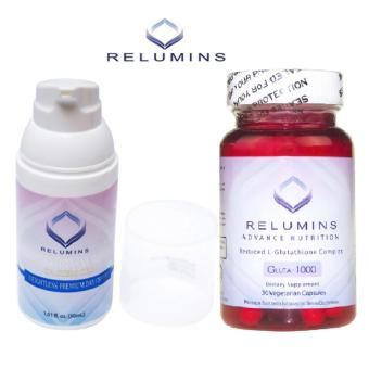 Authentic Relumins Advance Nutrition Gluta 1000 L-GlutathioneComplex Skin-Whitening Anti-aging Skin Brightening 30 VegetarianCapsules with TA Stem Cell Premium make-up base Whitening Cream