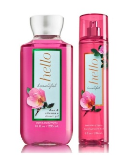 Bath and Body Works Hello Beautiful Fragrance mist and Shower Gel Bundle