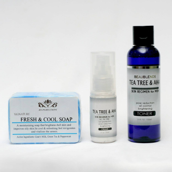 Beaubelnds Tea Tree and AHA Skin Regimen for Men Toner, Cream, andSoap Set of 3