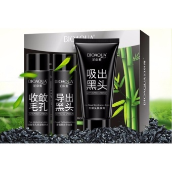 Bioaqua BQY1297 Natural Blackhead Bamboo Charcoal Black Mask Set of 3