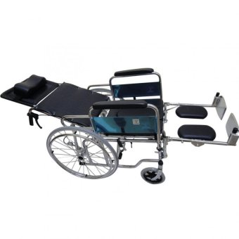 Care&Cure Heavy Duty Chrome Reclining Wheelchair with Commodeattachment (Silver) - 2